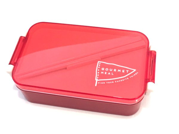 Photo1: Gourmet Meal LunchBox Red (Chopsticks incl.) (1)
